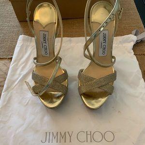 5b3d18e3c3ab Jimmy Choo Liddie 145 Gold platform
